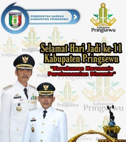 Selamat hari jadi ke-11 Kabupaten Pringsewu Provinsi Lampung